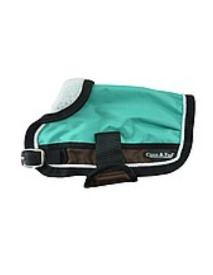 Waterproof Dog Coat 3022- Teal & Chocolate With Piping image 2