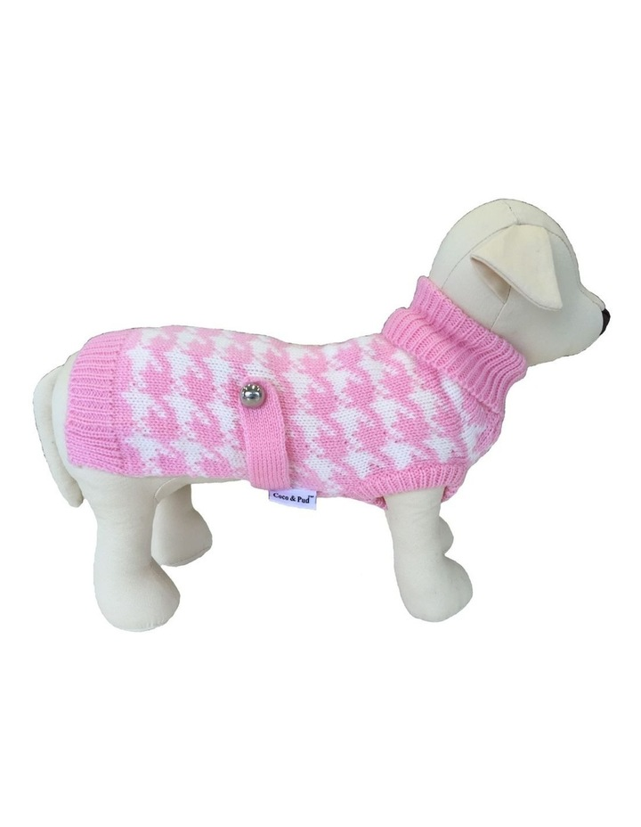 Houndstooth Dog Sweater - Pink/ White XS image 1