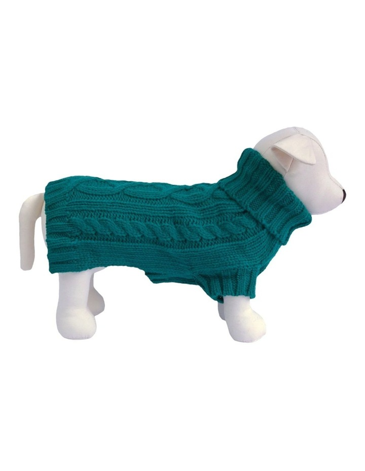 Cable Dog Sweater - Teal image 1