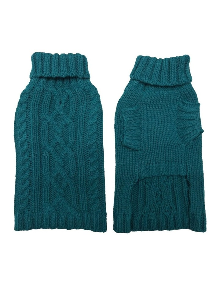 Cable Dog Sweater - Teal image 3