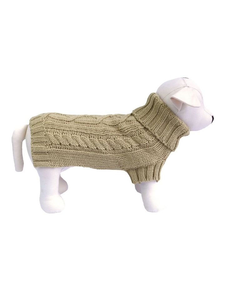 Cable Dog Sweater - Oatmeal image 1