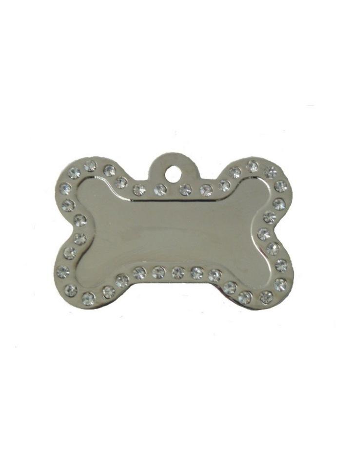 Coco & Pud Crystal Bone ID Tag - Silver image 1