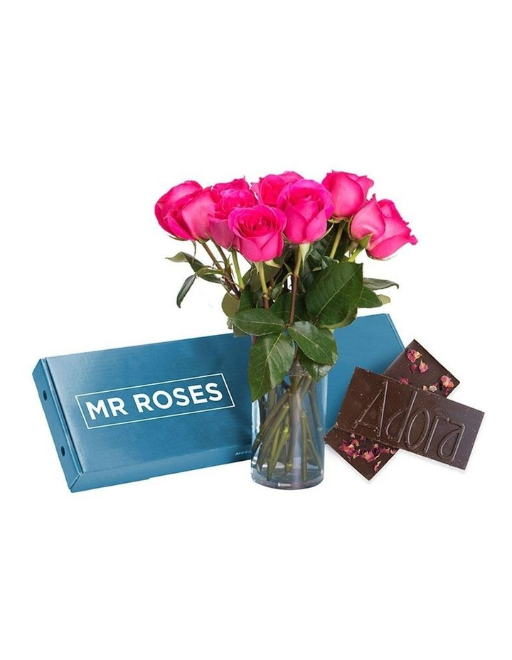 Sublime 20 Bright Pink Roses Gift Box with Milk & Dark Chocolate image 1