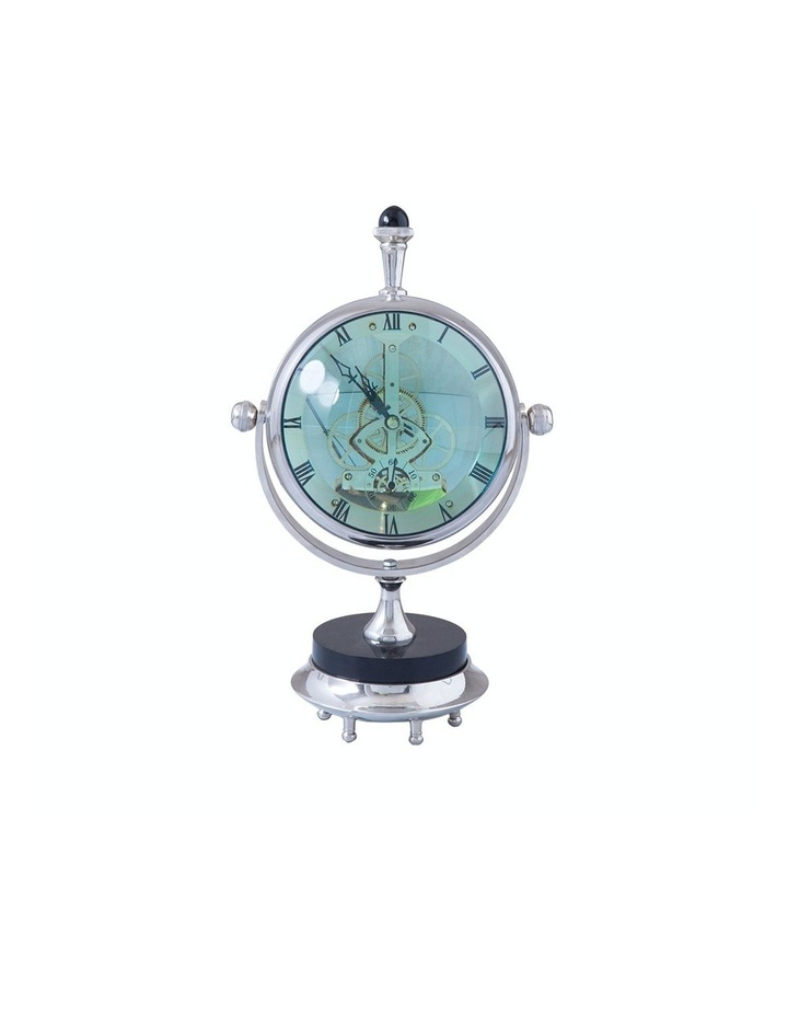 Magnified Maritime Clock on Black Base Aluminium Nickel image 1