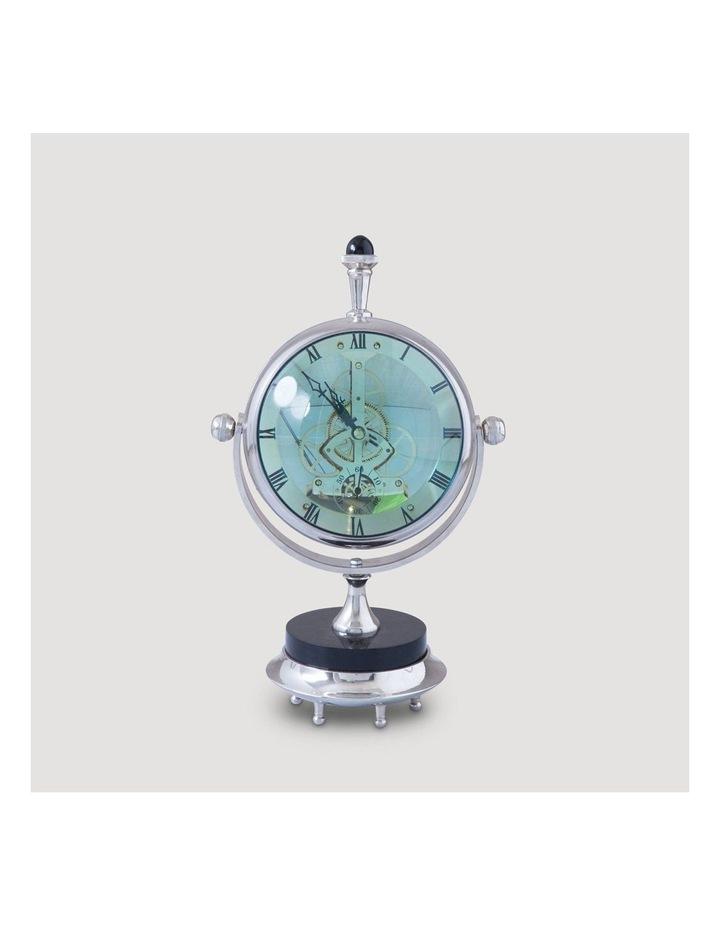 Magnified Maritime Clock on Black Base Aluminium Nickel image 2