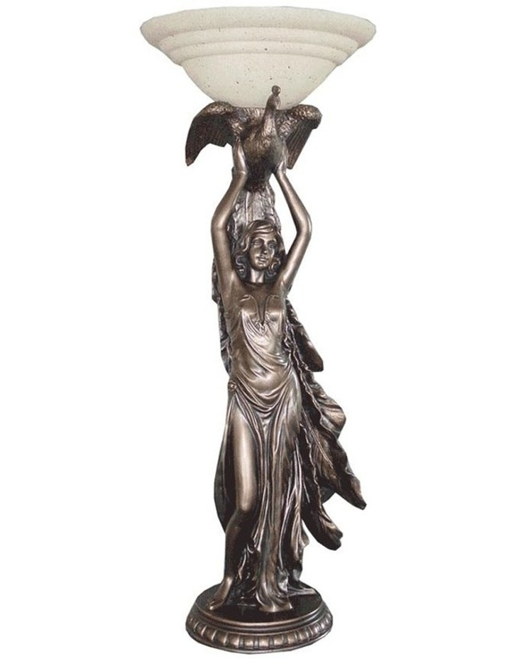 Lady with Bird Art Deco Table Lamp image 1