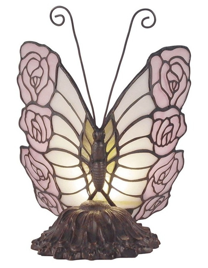 Rose Butterfly Tiffany Table Lamp image 1