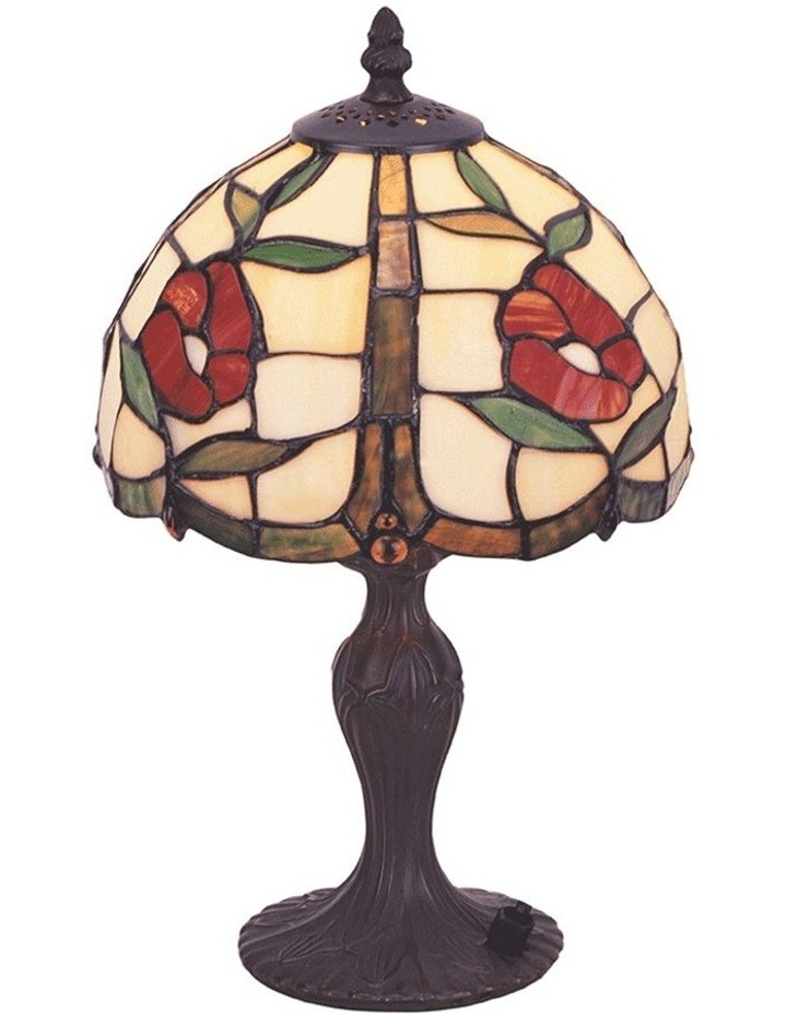 Red Rose Tiffany Table Lamp image 1