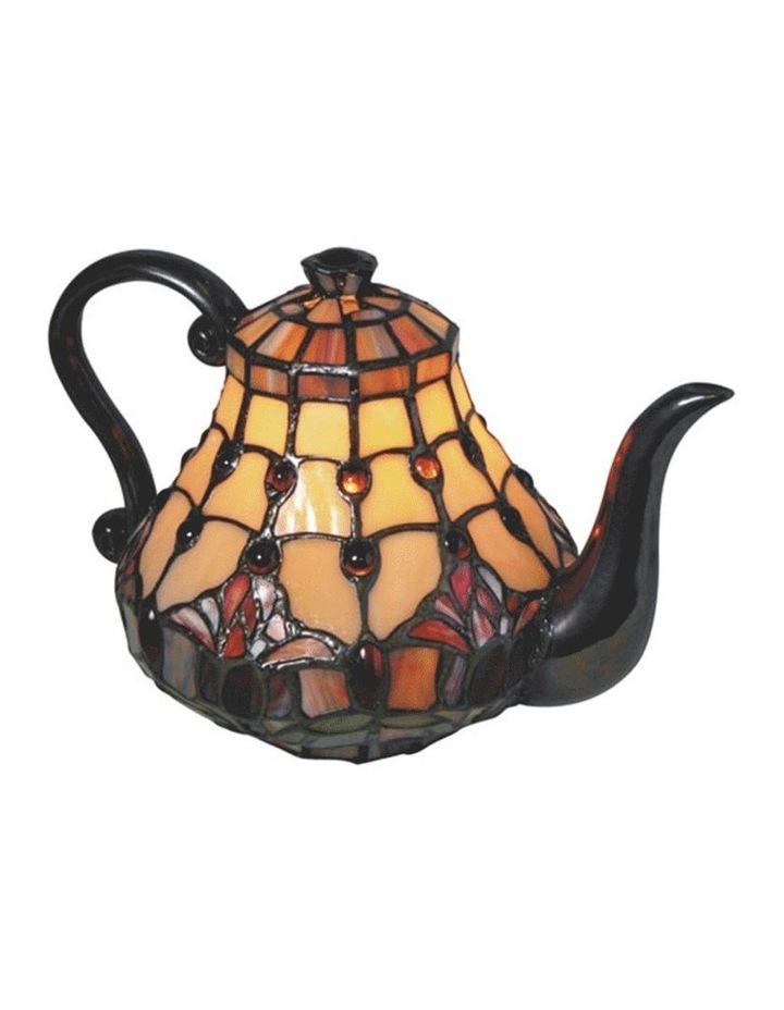 Red Tulip Teapot Leadlight Tiffany Table Lamp image 1