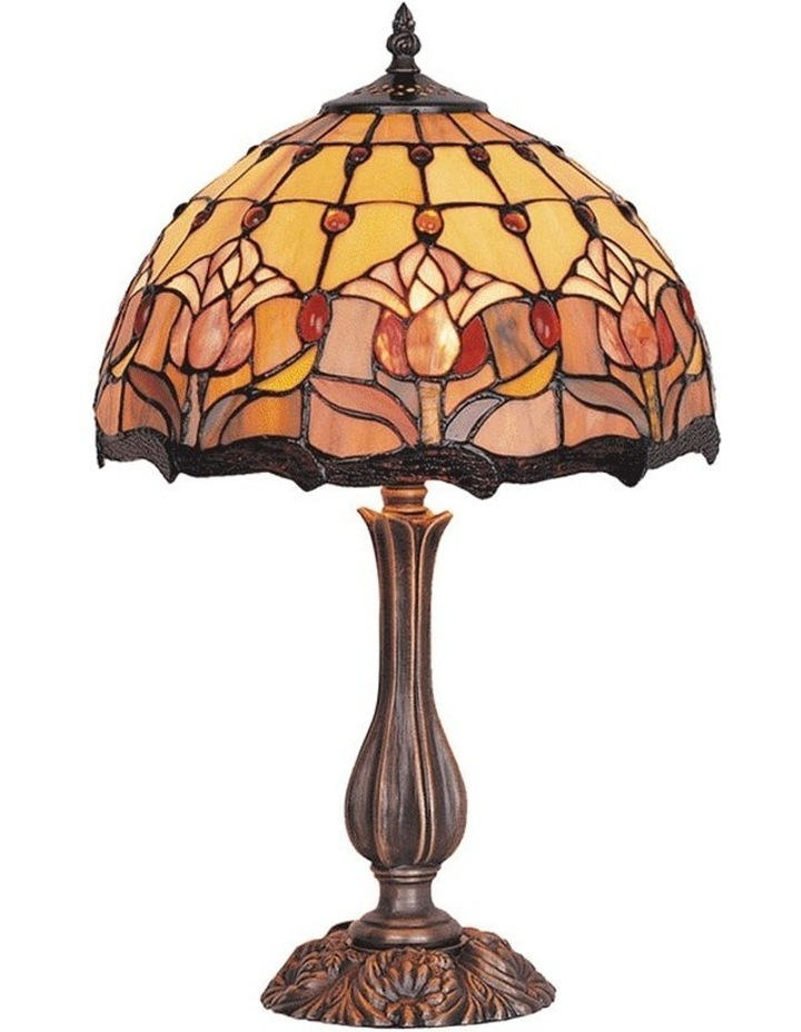 Red Tulip Tiffany Table Lamp image 1