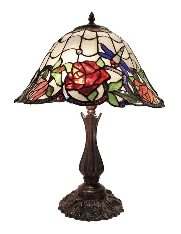 Rose and Dragonfly Tiffany Table Lamp Large image 1