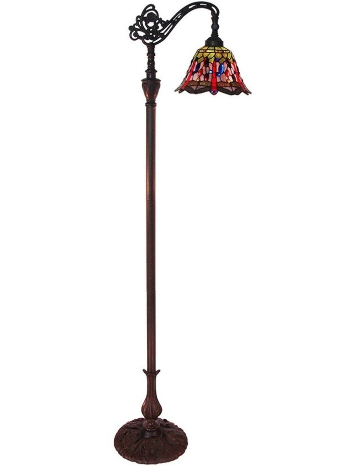Rose and Dragonfly Edwardian Tiffany Floor Lamp image 1