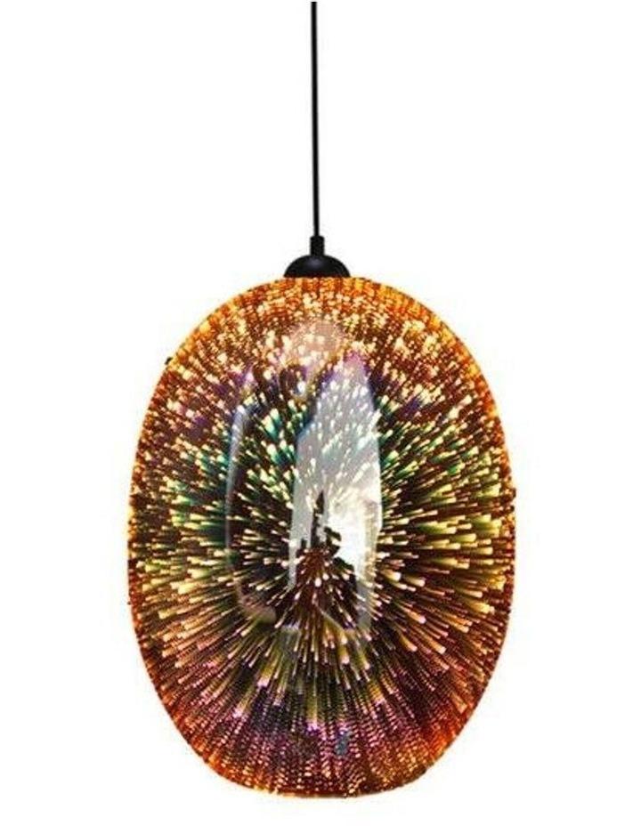 Moravian Glass Oval Pendant Light Copper image 1