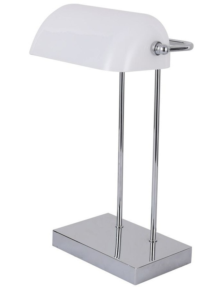 Banker Touch Table Lamp With Usb Charger Chrome/White image 1