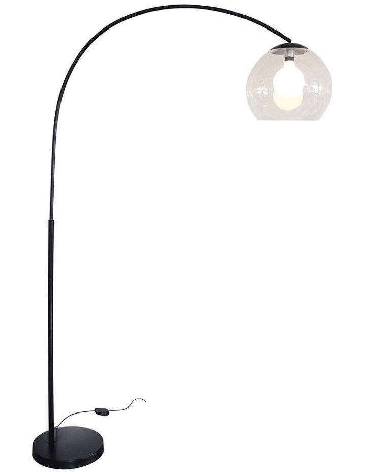 Large Arc Floor Lamp with Acrylic Shade Black image 1