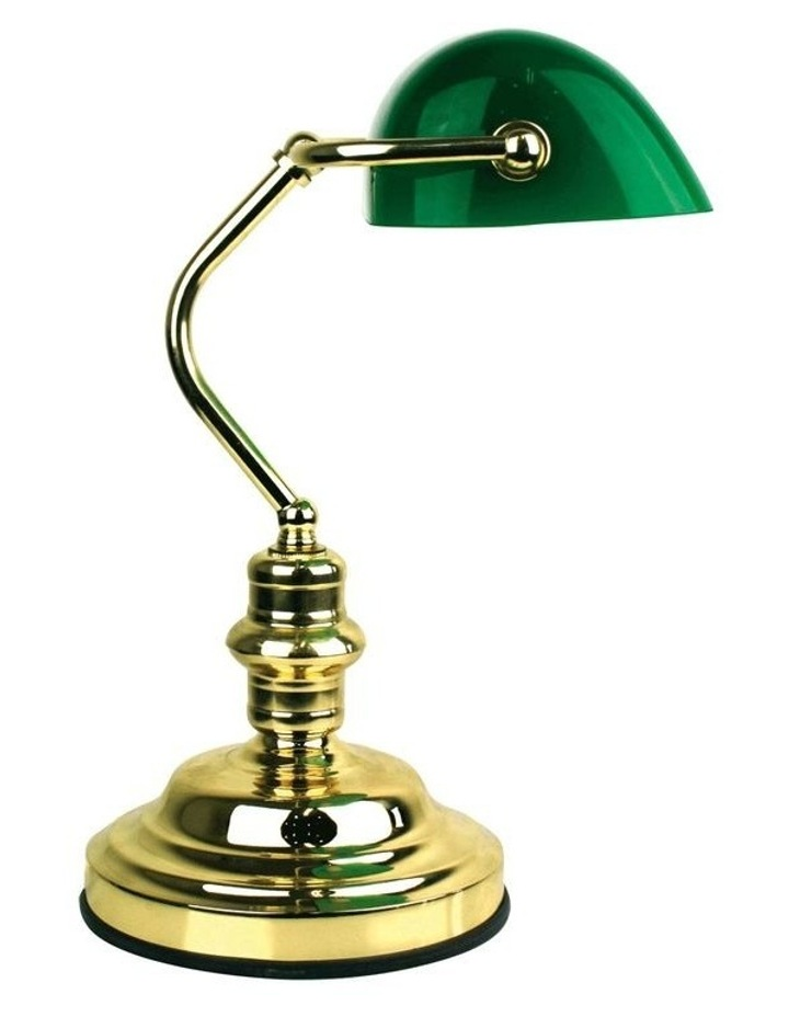 Banker's Touch Table Lamp Brass/ Dark Green image 1