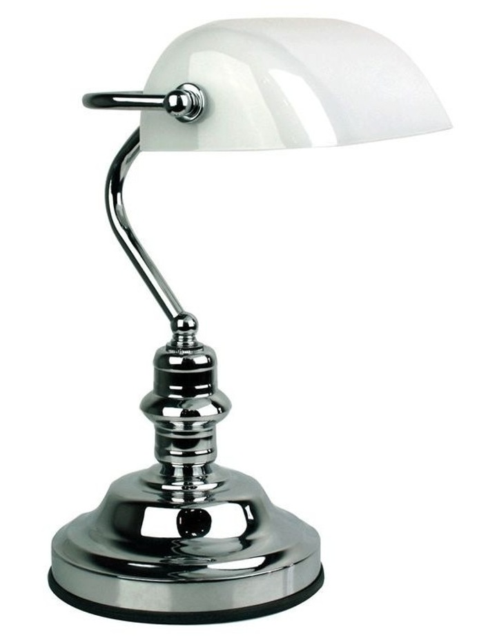 Banker's Touch Table Lamp Chrome/ Gloss Opal image 1