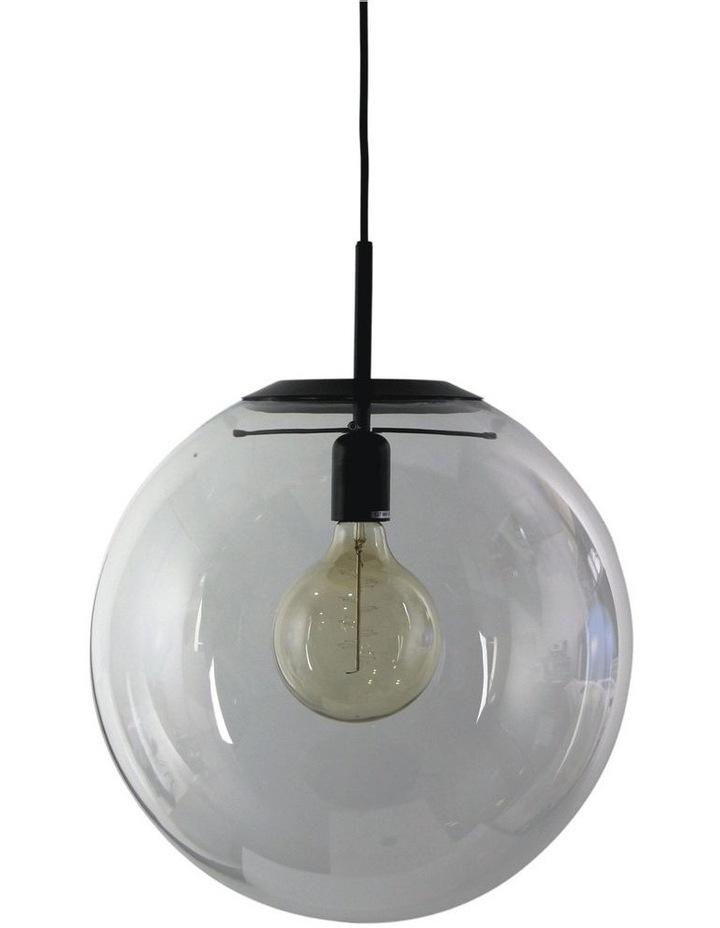 Newton Contemporary Clear Glass Pendant Light 40cm Black image 1