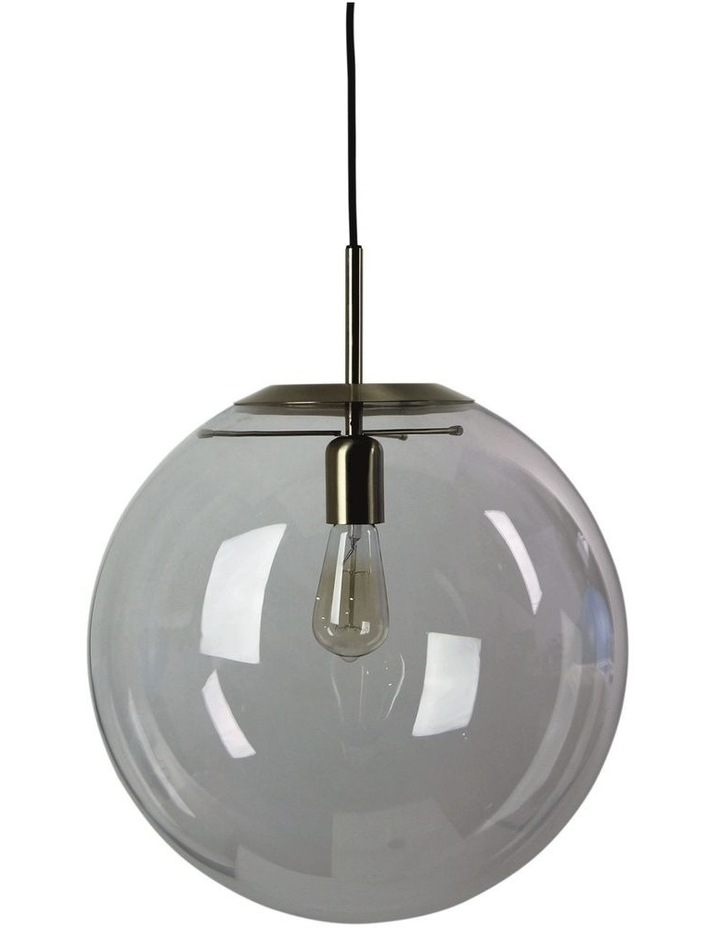 Newton Contemporary Clear Glass Pendant Light 40cm Brass image 1