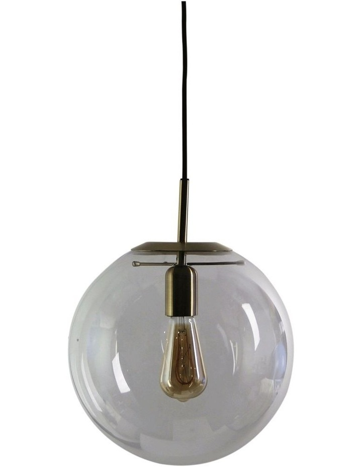 Newton Contemporary Clear Glass Pendant Light 30cm Brass image 1