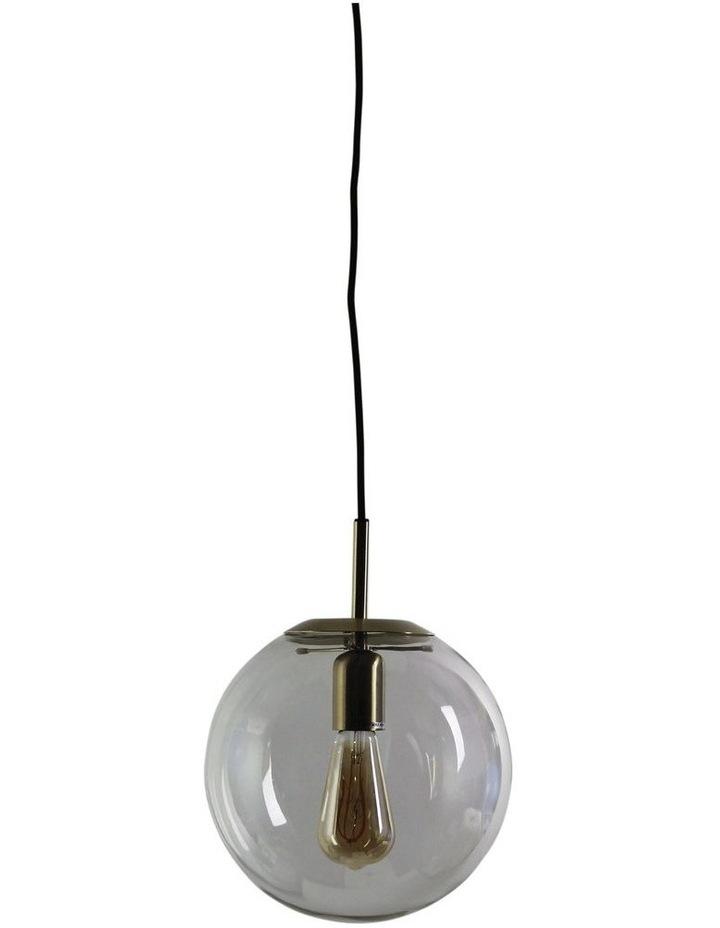 Newton Contemporary Clear Glass Pendant Light 25cm Brass image 1