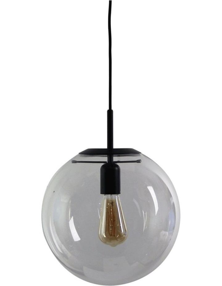 Newton Contemporary Clear Glass Pendant Light 30cm Black image 1