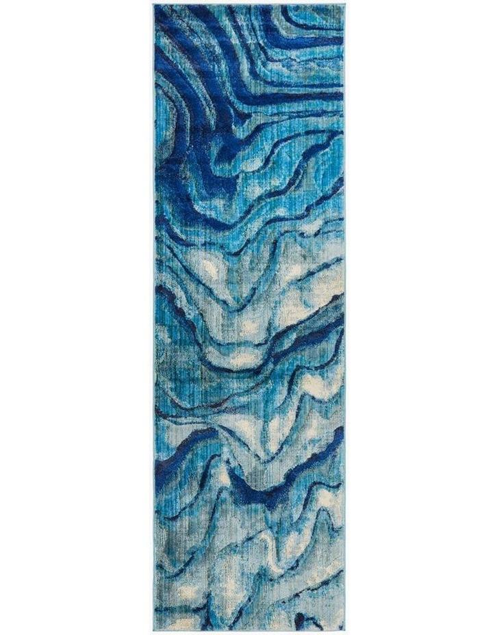 Dreamscape Waves Modern Indigo Runner Rug image 1
