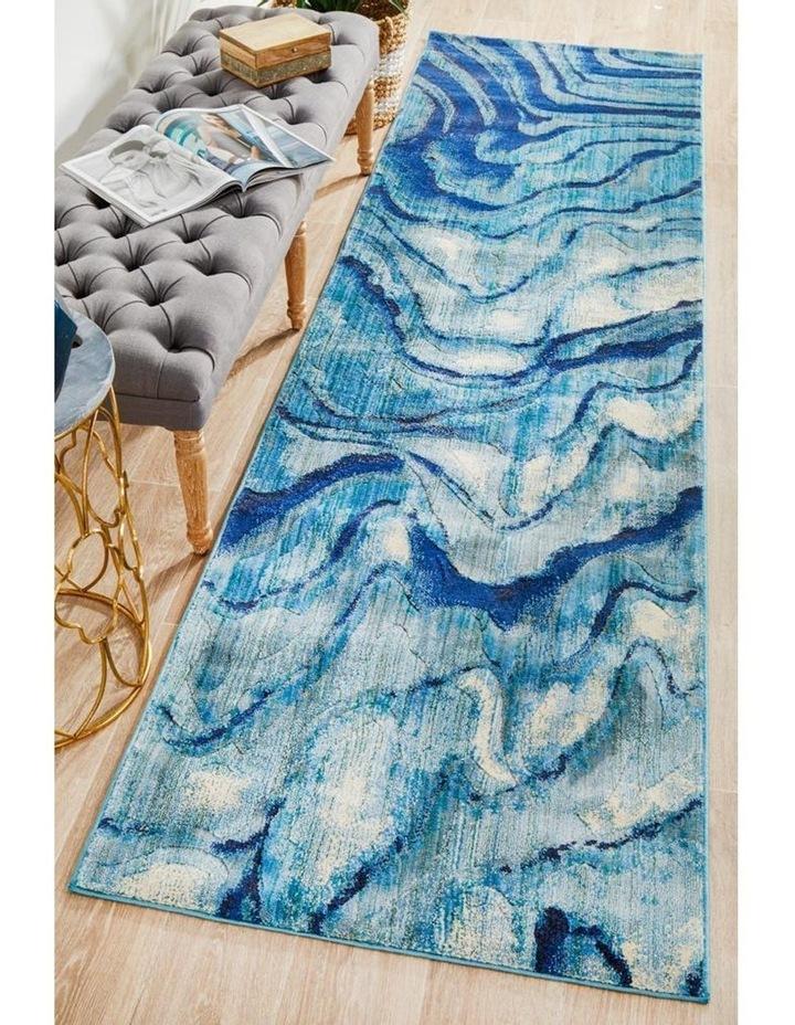 Dreamscape Waves Modern Indigo Runner Rug image 7