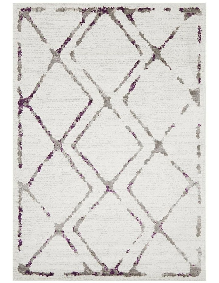 Kendall Contemporary Diamond Rug White Purple Grey image 1