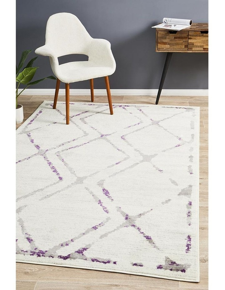 Kendall Contemporary Diamond Rug White Purple Grey image 7