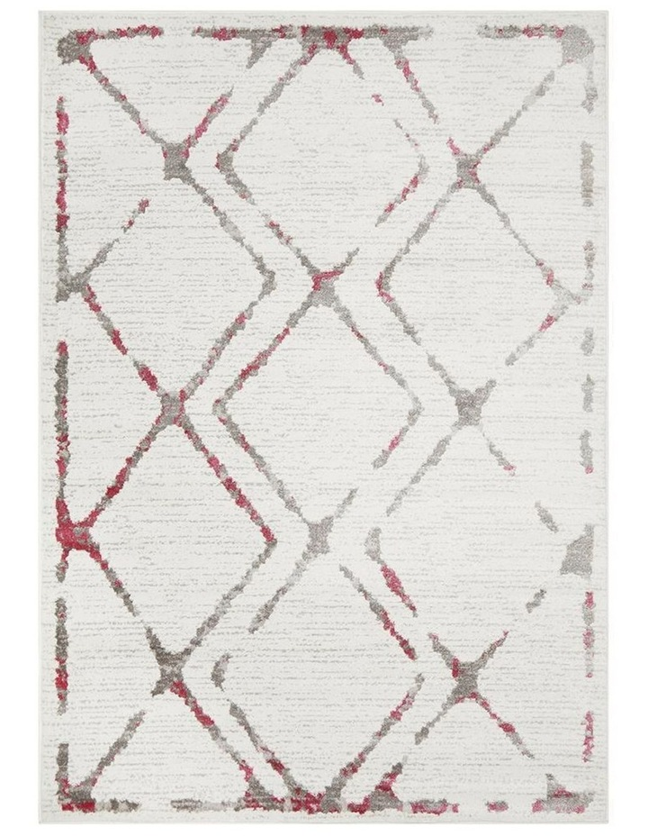 Kendall Contemporary Diamond Rug White Pink Grey image 1