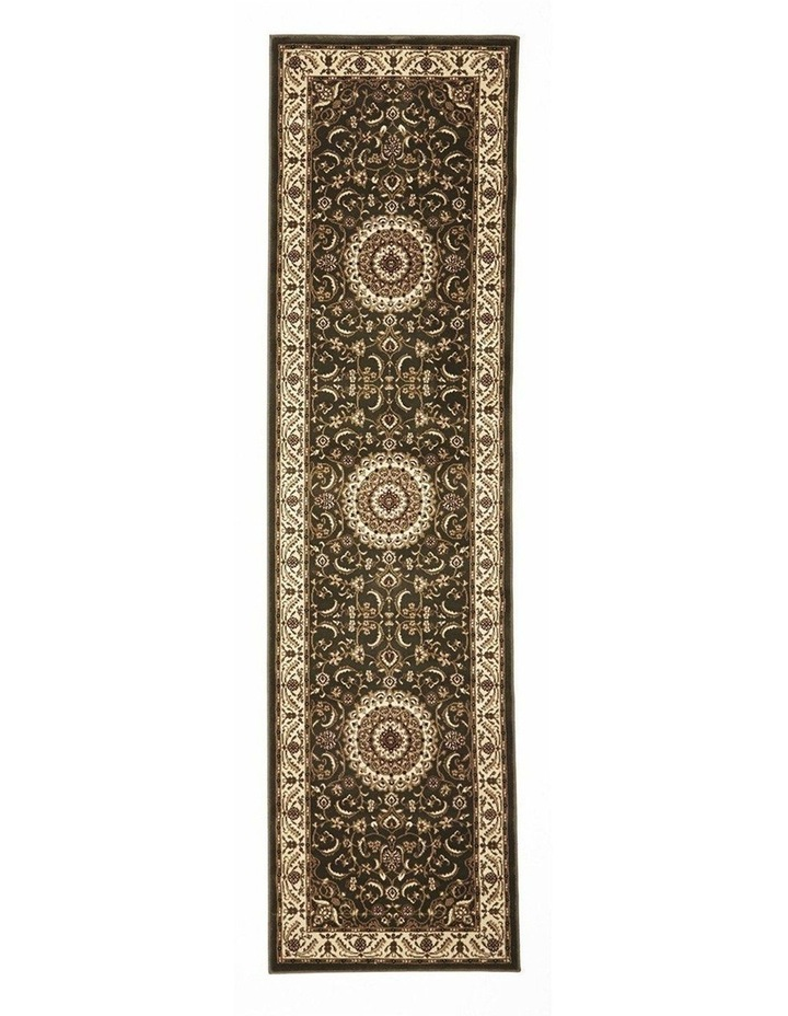 Sydney Collection Medallion Rug Green with Ivory Border image 1