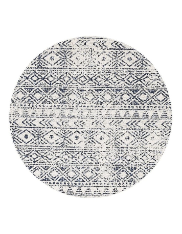 Oasis Ismail White Blue Rustic Round Rug image 1