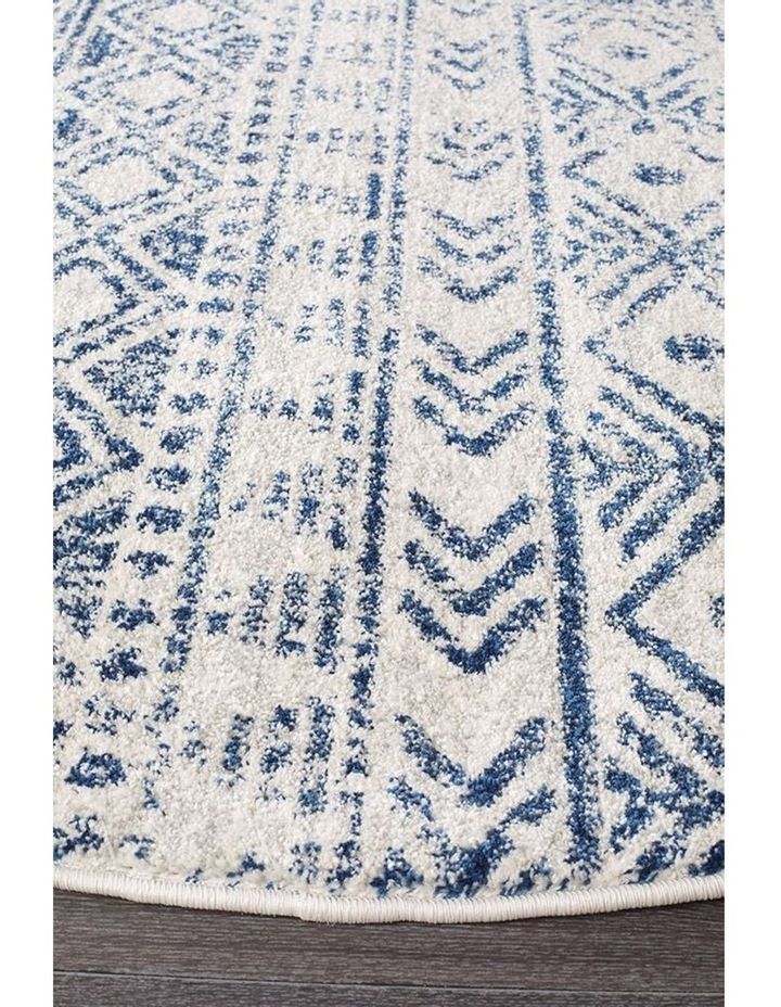 Oasis Ismail White Blue Rustic Round Rug image 2