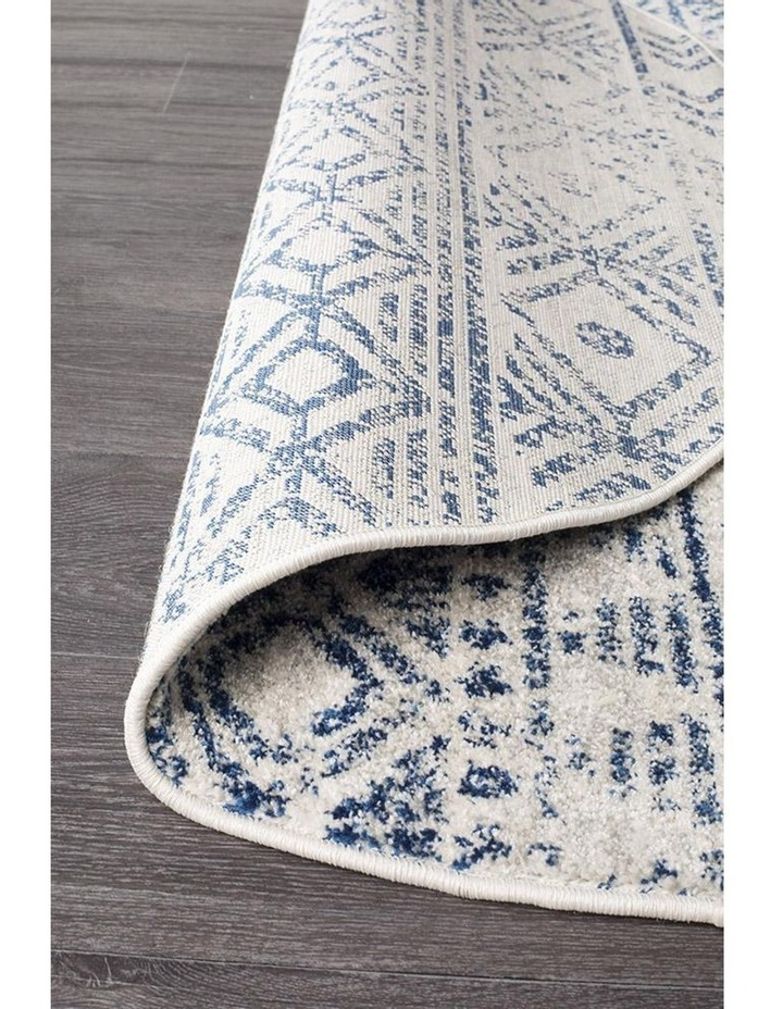 Oasis Ismail White Blue Rustic Round Rug image 4