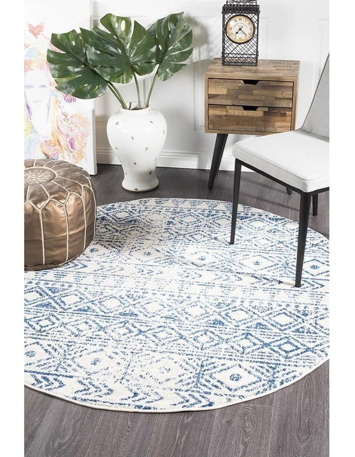 Oasis Ismail White Blue Rustic Round Rug image 5