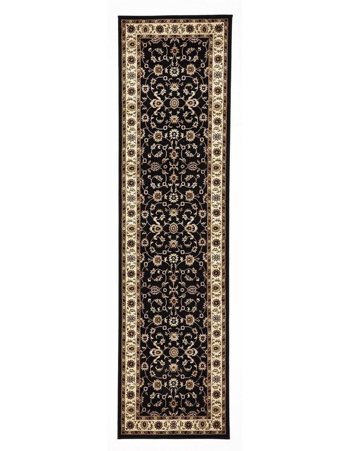 Sydney Collection Classic Rug Black with Ivory Border image 1