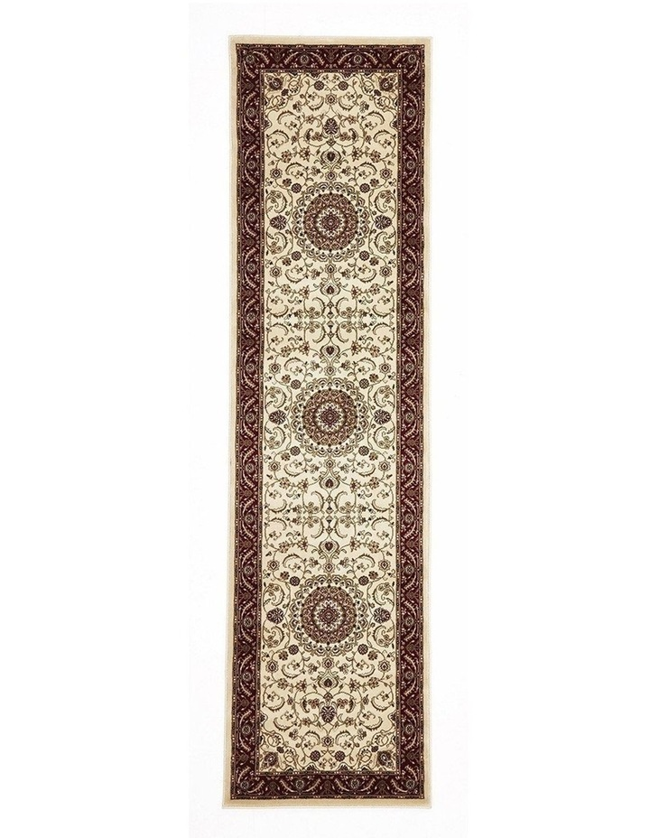 Sydney Collection Medallion Rug Ivory with Red Border image 1