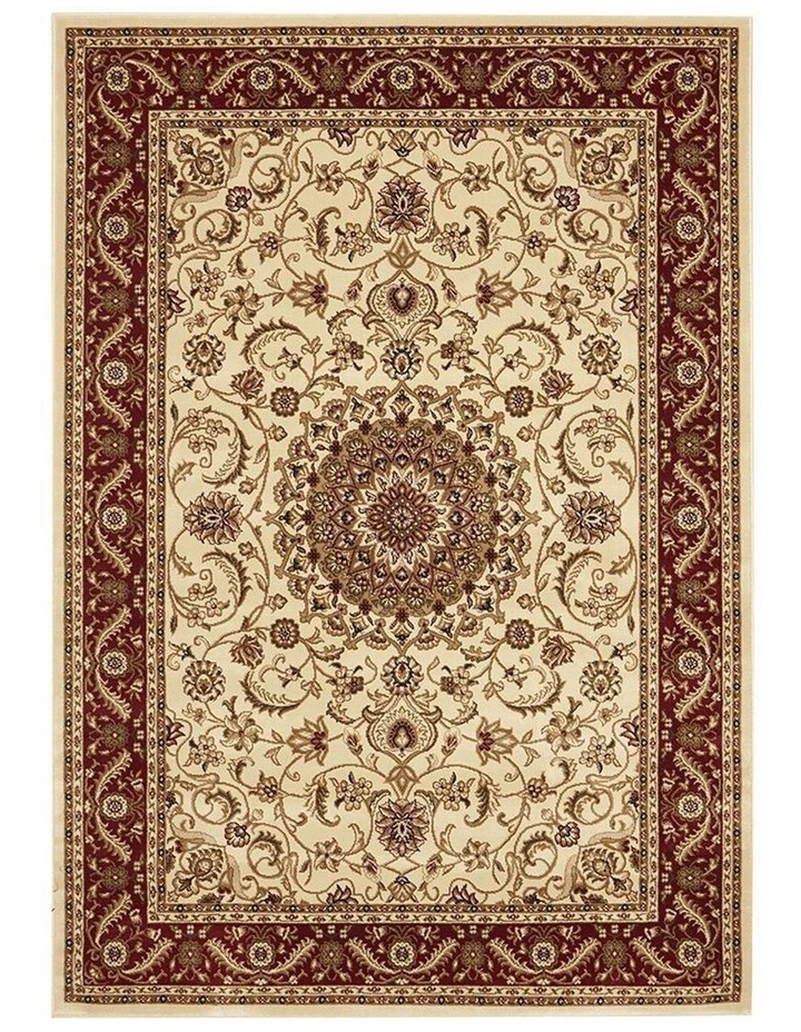Sydney Collection Medallion Rug Ivory with Red Border image 2