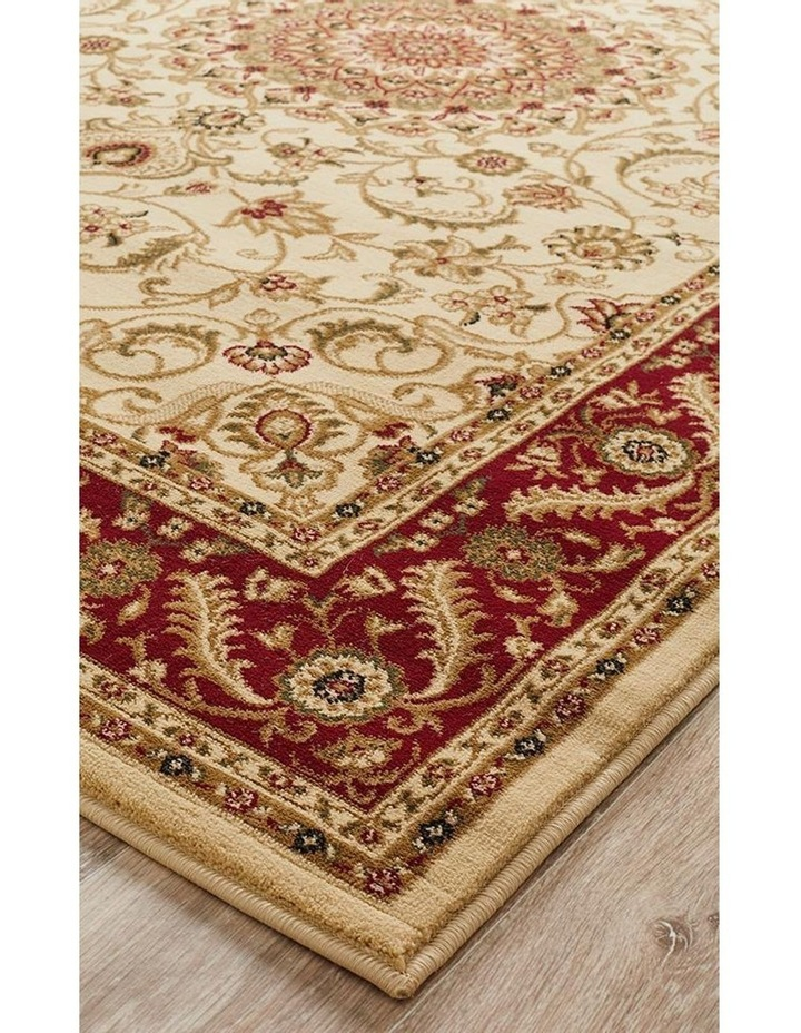 Sydney Collection Medallion Rug Ivory with Red Border image 3