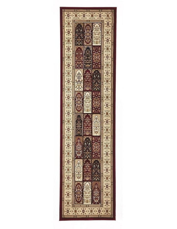 Sydney Collection Traditional Panel Pattern Rug Burgundy image 1