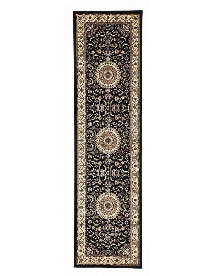 Sydney Collection Medallion Rug Black with Ivory Border image 1
