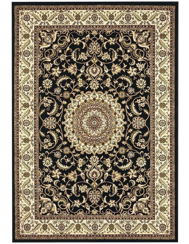 Sydney Collection Medallion Rug Black with Ivory Border image 2