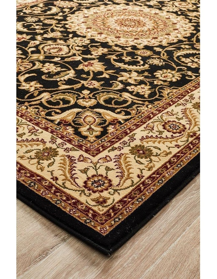Sydney Collection Medallion Rug Black with Ivory Border image 3