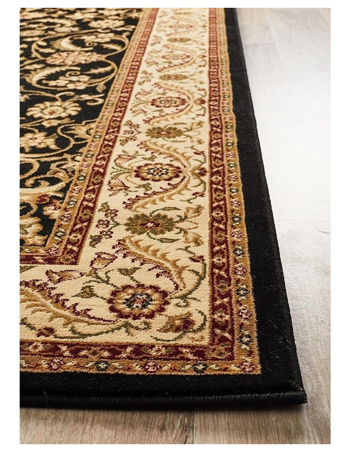 Sydney Collection Medallion Rug Black with Ivory Border image 4