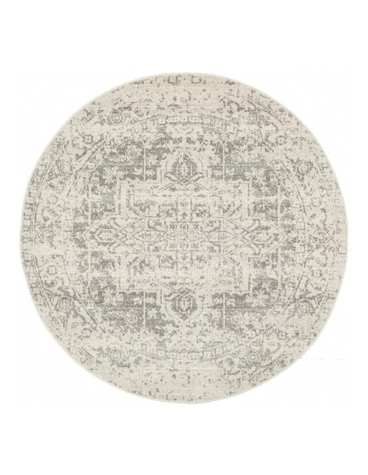 Evoke Dream White Silver Transitional Round Rug image 1