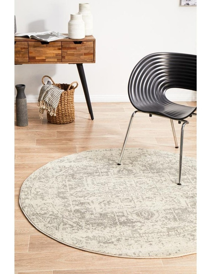 Evoke Dream White Silver Transitional Round Rug image 7