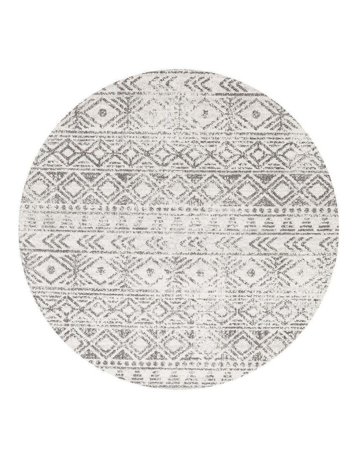 Oasis Ismail White Grey Rustic Round Rug image 1
