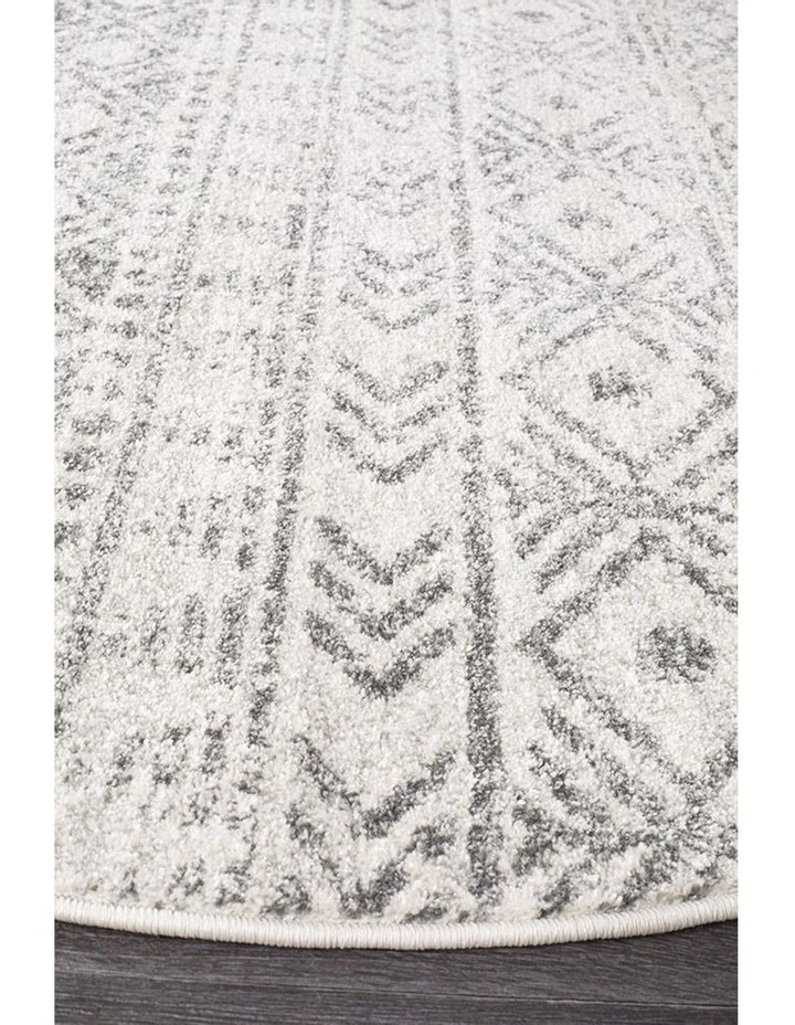 Oasis Ismail White Grey Rustic Round Rug image 2