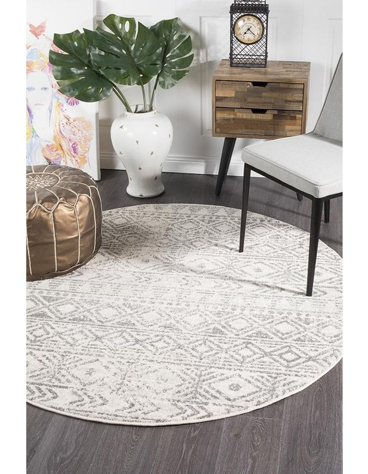 Oasis Ismail White Grey Rustic Round Rug image 5